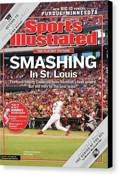 St. Louis Cardinals Canvas Print featuring the photograph Smashing In St. Louis Sports Illustrated Cover by Sports Illustrated