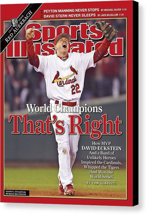 St. Louis Cardinals Canvas Print featuring the photograph St. Louis Cardinals David Eckstein, 2006 World Series Sports Illustrated Cover by Sports Illustrated