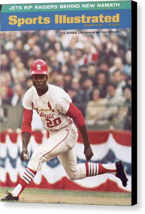 St. Louis Cardinals Canvas Print featuring the photograph St. Louis Cardinals Lou Brock, 1967 World Series Sports Illustrated Cover by Sports Illustrated