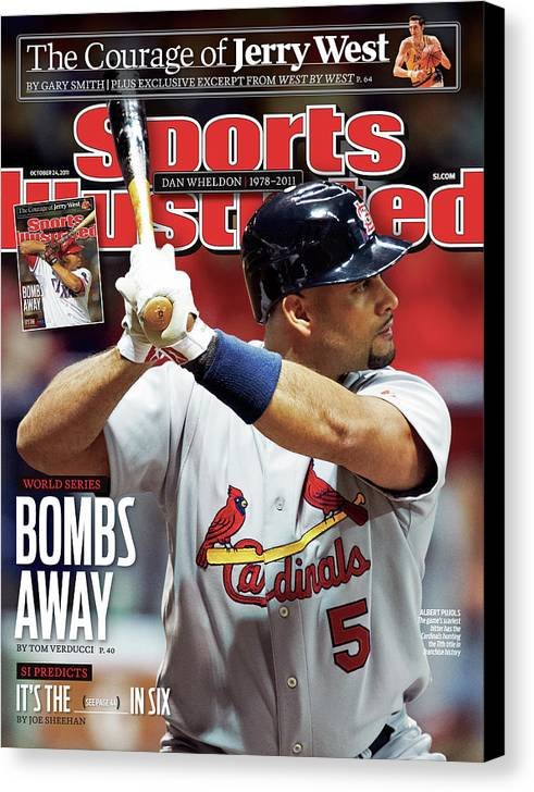 St. Louis Cardinals Canvas Print featuring the photograph St Louis Cardinals V Milwaukee Brewers - Game 6 Sports Illustrated Cover by Sports Illustrated