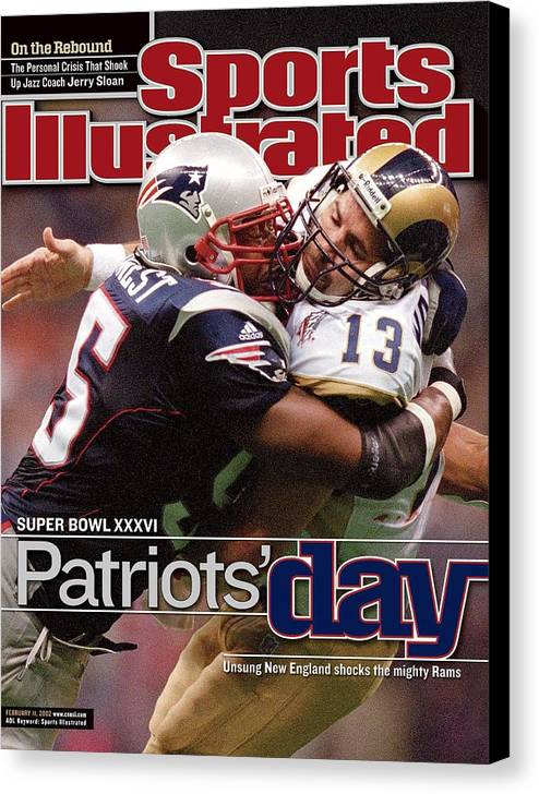 New England Patriots Canvas Print featuring the photograph St. Louis Rams Qb Kurt Warner, Super Bowl Xxxvi Sports Illustrated Cover by Sports Illustrated