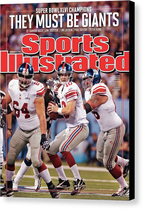 Magazine Cover Canvas Print featuring the photograph Super Bowl Xlvi... Sports Illustrated Cover by Sports Illustrated