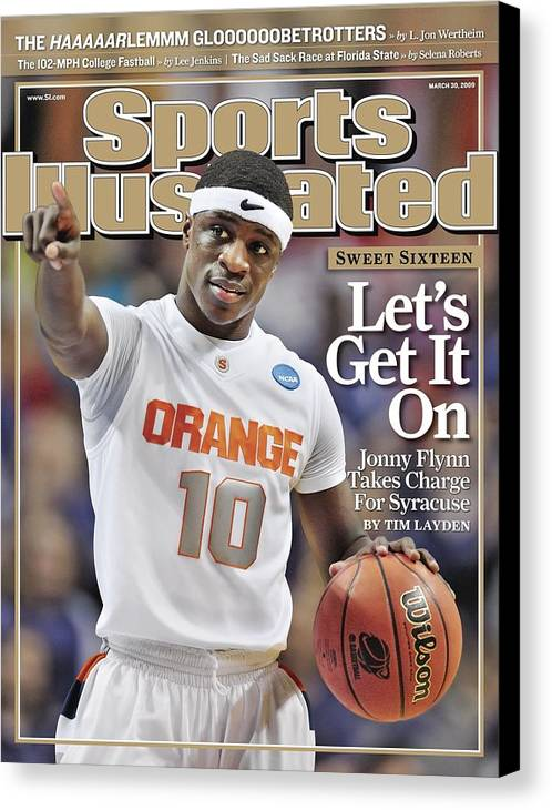 Playoffs Canvas Print featuring the photograph Syracuse University Jonny Flynn, 2009 Ncaa South Regional Sports Illustrated Cover by Sports Illustrated
