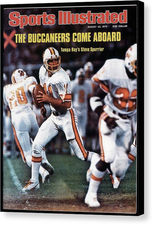 Magazine Cover Canvas Print featuring the photograph Tampa Bay Buccaneers Qb Steve Spurrier... Sports Illustrated Cover by Sports Illustrated