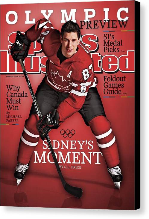 The Olympic Games Canvas Print featuring the photograph Team Canada Sidney Crosby, 2010 Vancouver Olympic Games Sports Illustrated Cover by Sports Illustrated