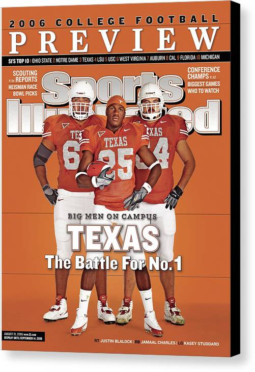 Sports Illustrated Canvas Print featuring the photograph Texas Jamaal Charles, Justin Blalock, And Kasey Studdard Sports Illustrated Cover by Sports Illustrated