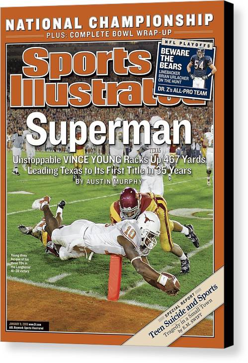 Magazine Cover Canvas Print featuring the photograph Texas Qb Vince Young, 2006 Rose Bowl Sports Illustrated Cover by Sports Illustrated