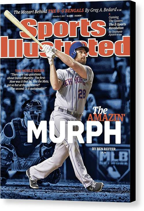 Magazine Cover Canvas Print featuring the photograph The Amazin Murph 2015 World Series Preview Issue Sports Illustrated Cover by Sports Illustrated