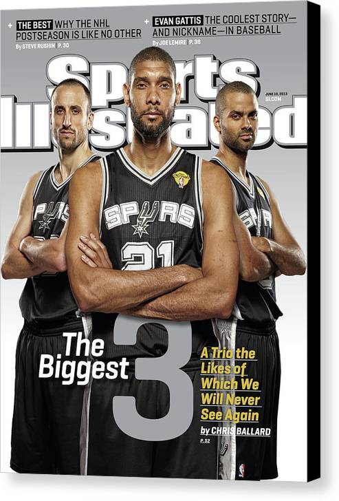 Magazine Cover Canvas Print featuring the photograph The Biggest 3 Sports Illustrated Cover by Sports Illustrated