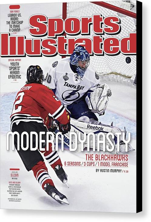 Magazine Cover Canvas Print featuring the photograph The Blackhawks, Modern Dynasty 6 Seasons, 3 Cups, 1 Model Sports Illustrated Cover by Sports Illustrated