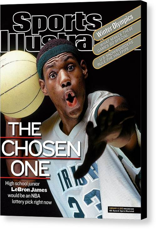 Magazine Cover Canvas Print featuring the photograph The Chosen One St. Vincent-st. Mary High LeBron James Sports Illustrated Cover by Sports Illustrated