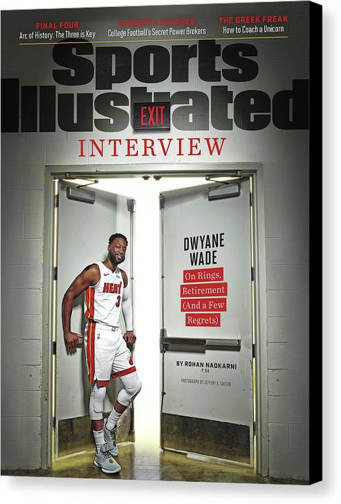 Magazine Cover Canvas Print featuring the photograph The Exit Interview Miami Heat Dwyane Wade On Rings Sports Illustrated Cover by Sports Illustrated