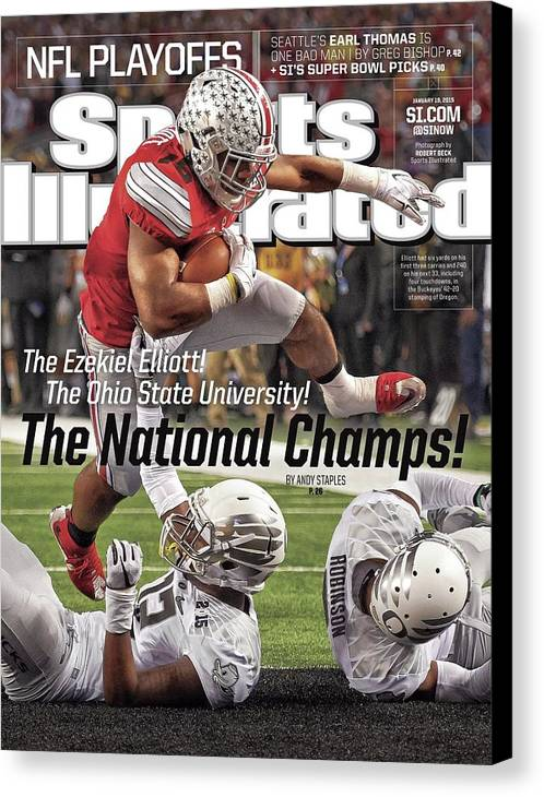 Magazine Cover Canvas Print featuring the photograph The Ezekiel Elliott The Ohio State University The National Sports Illustrated Cover by Sports Illustrated