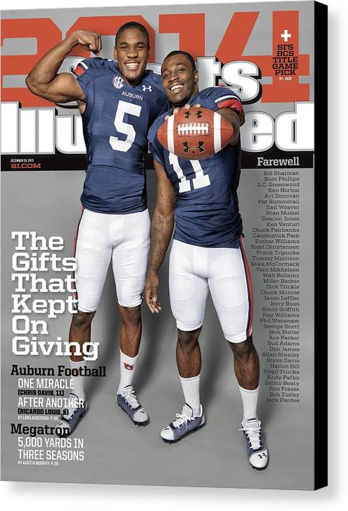 Magazine Cover Canvas Print featuring the photograph The Gifts That Kept On Giving Auburn Football Sports Illustrated Cover by Sports Illustrated