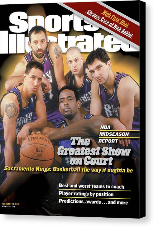 Magazine Cover Canvas Print featuring the photograph The Greatest Show On Court Sacramento Kings Sports Illustrated Cover by Sports Illustrated
