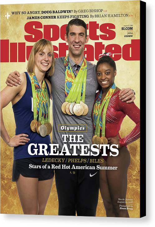 Magazine Cover Canvas Print featuring the photograph The Greatests Ledecky Phelps Biles Sports Illustrated Cover by Sports Illustrated