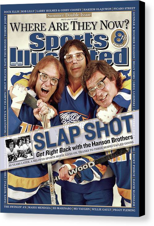 Magazine Cover Canvas Print featuring the photograph The Hanson Brothers Sports Illustrated Cover by Sports Illustrated