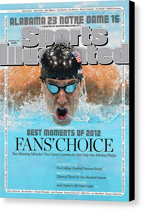 Magazine Cover Canvas Print featuring the photograph The Moments Of 2012 Michael Phelps Sports Illustrated Cover by Sports Illustrated