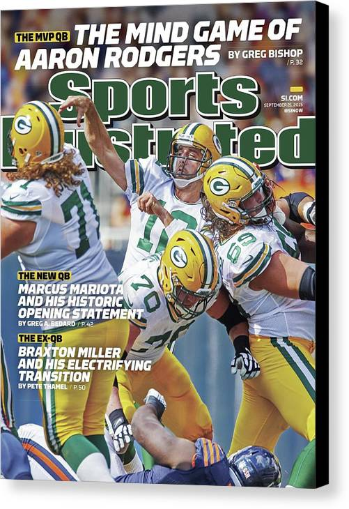 Magazine Cover Canvas Print featuring the photograph The Mvp Qb The Mind Game Of Aaron Rodgers Sports Illustrated Cover by Sports Illustrated