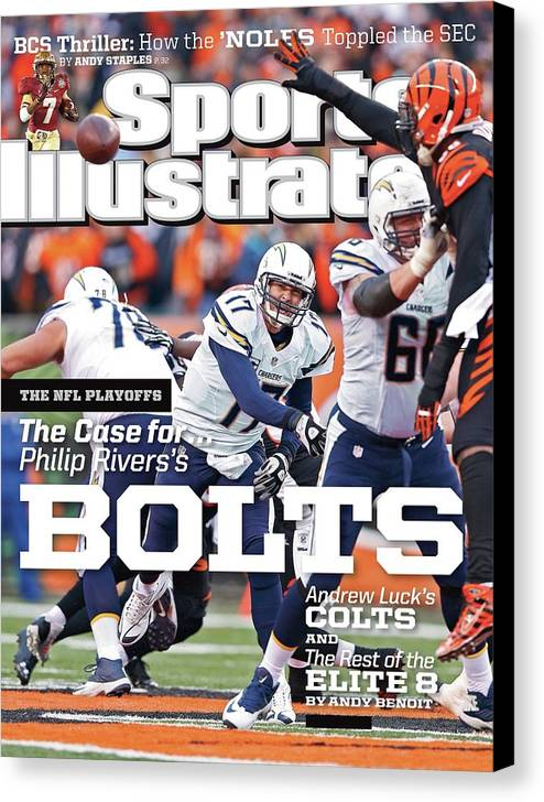 Magazine Cover Canvas Print featuring the photograph The Nfl Playoffs The Case For . . . Philip Rivers Bolts Sports Illustrated Cover by Sports Illustrated