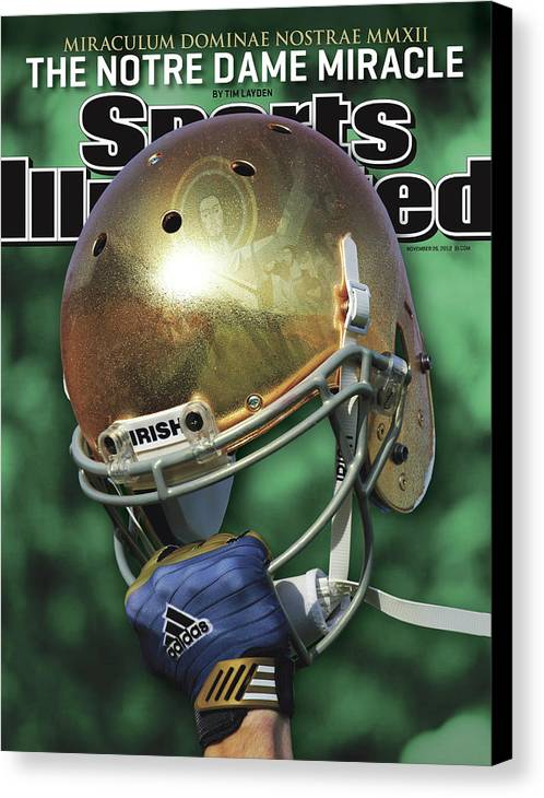 Magazine Cover Canvas Print featuring the photograph The Notre Dame Miracle Sports Illustrated Cover by Sports Illustrated
