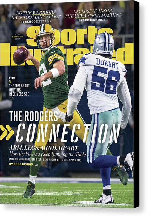 Playoffs Canvas Print featuring the photograph The Rodgers Connection Arm. Legs. Mind. Heart. Sports Illustrated Cover by Sports Illustrated