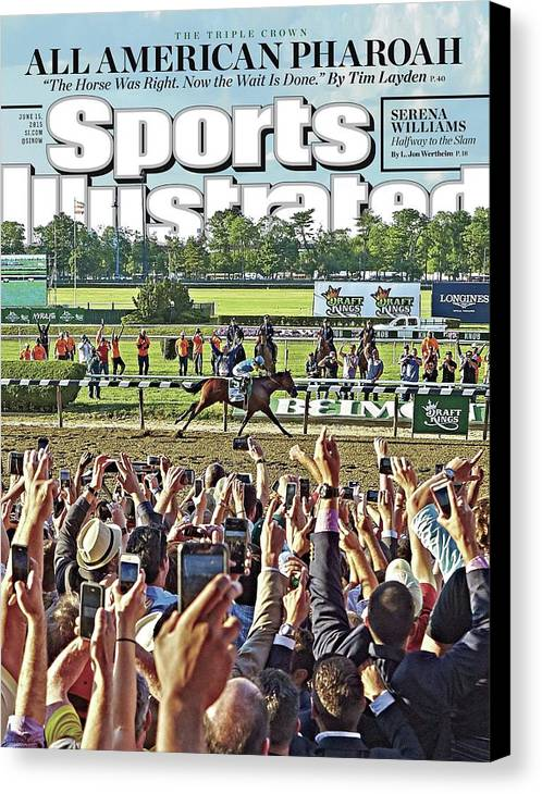 Magazine Cover Canvas Print featuring the photograph The Triple Crown All American Pharoah Sports Illustrated Cover by Sports Illustrated