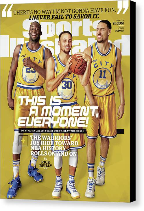 Point Guard Canvas Print featuring the photograph This Is A Moment, Everyone The Warriors Joy Ride Toward Nba Sports Illustrated Cover by Sports Illustrated