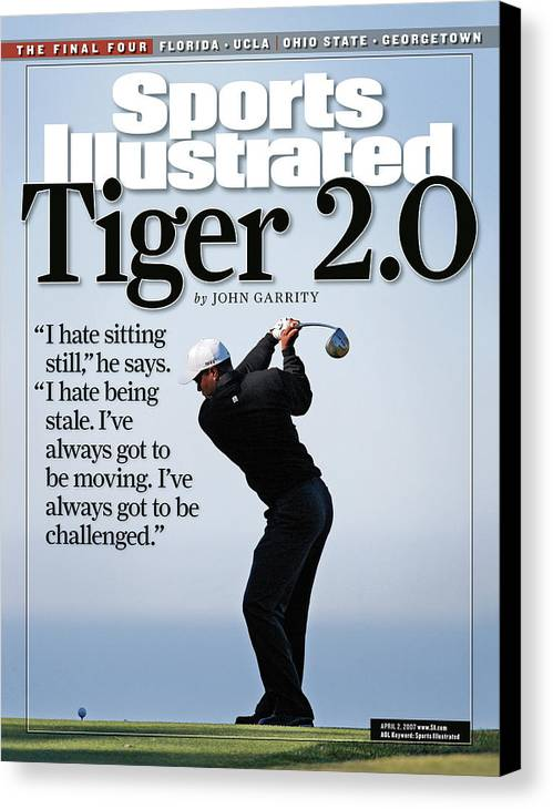 Magazine Cover Canvas Print featuring the photograph Tiger Woods, 2007 Buick Invitational Practice Round Sports Illustrated Cover by Sports Illustrated