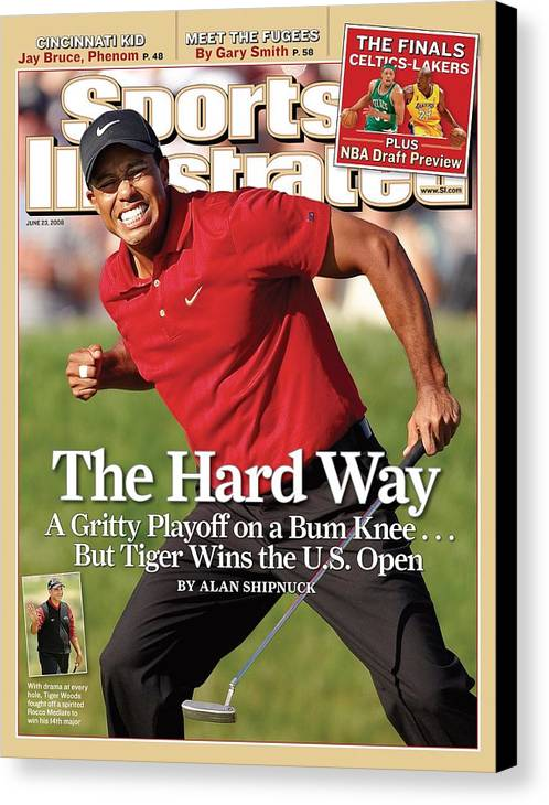 Magazine Cover Canvas Print featuring the photograph Tiger Woods, 2008 Us Open Sports Illustrated Cover by Sports Illustrated