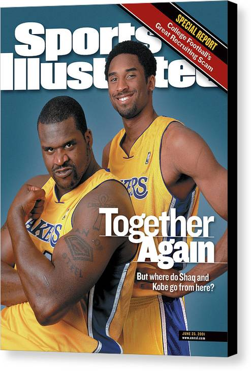 Nba Pro Basketball Canvas Print featuring the photograph Together Again But Where Do Shaq And Kobe Go From Here Sports Illustrated Cover by Sports Illustrated