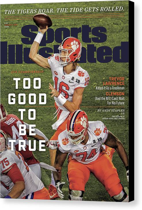 Magazine Cover Canvas Print featuring the photograph Too Good To Be True Trevor Lawrence Killed It As A Sports Illustrated Cover by Sports Illustrated