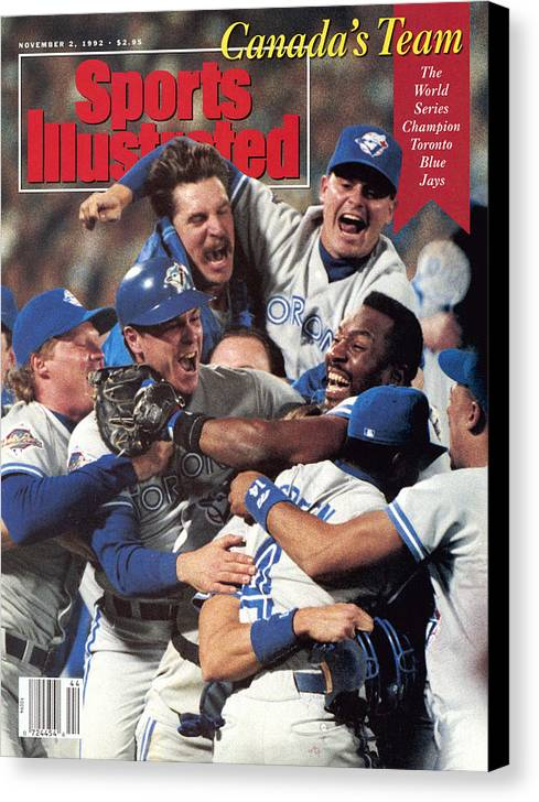 Atlanta Canvas Print featuring the photograph Toronto Blue Jays Joe Carter, 1992 World Series Sports Illustrated Cover by Sports Illustrated