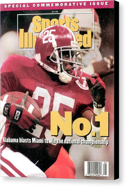 Magazine Cover Canvas Print featuring the photograph University Of Alabama Derrick Lassic, 1993 Usf&g Financial Sports Illustrated Cover by Sports Illustrated