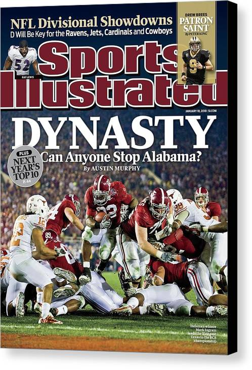 Rose Bowl Stadium Canvas Print featuring the photograph University Of Alabama Mark Ingram, 2010 Citi Bcs National Sports Illustrated Cover by Sports Illustrated