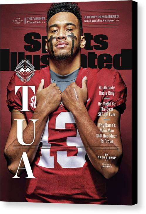 Magazine Cover Canvas Print featuring the photograph University Of Alabama Qb Tua Tagovailoa, 2018 College Sports Illustrated Cover by Sports Illustrated