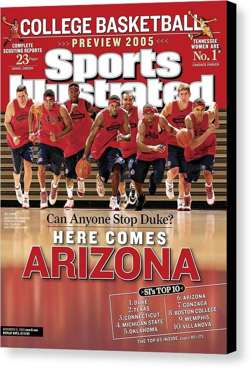 Mustafa Shakur Canvas Print featuring the photograph University Of Arizona Basketball Team Sports Illustrated Cover by Sports Illustrated