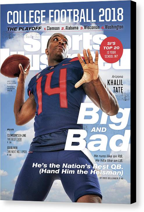 Magazine Cover Canvas Print featuring the photograph University Of Arizona Khalil Tate, 2018 College Football Sports Illustrated Cover by Sports Illustrated