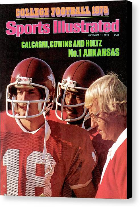 Season Canvas Print featuring the photograph University Of Arkansas Coach Lou Holtz, Qb Ron Calcagni Sports Illustrated Cover by Sports Illustrated
