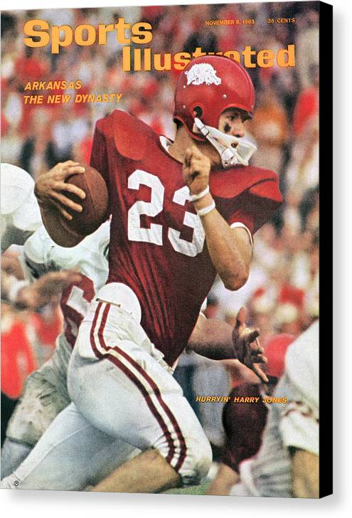 Magazine Cover Canvas Print featuring the photograph University Of Arkansas Harry Jones Sports Illustrated Cover by Sports Illustrated