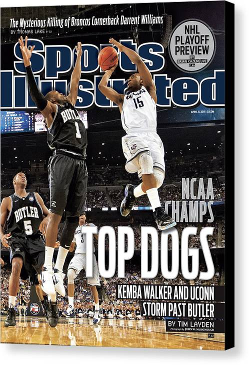 Kemba Walker Canvas Print featuring the photograph University Of Connecticut Vs Butler University, 2011 Ncaa Sports Illustrated Cover by Sports Illustrated