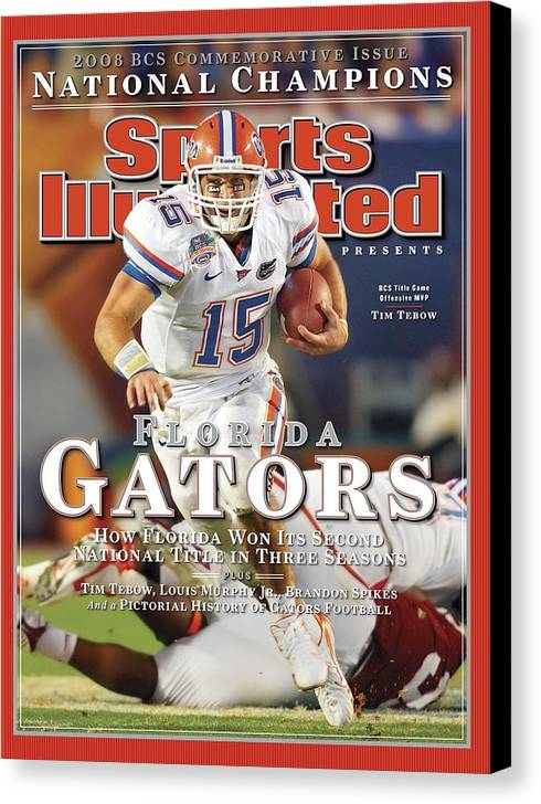 Hard Rock Stadium Canvas Print featuring the photograph University Of Florida Florida Qb Tim Tebow, 2009 Fedex Bcs Sports Illustrated Cover by Sports Illustrated