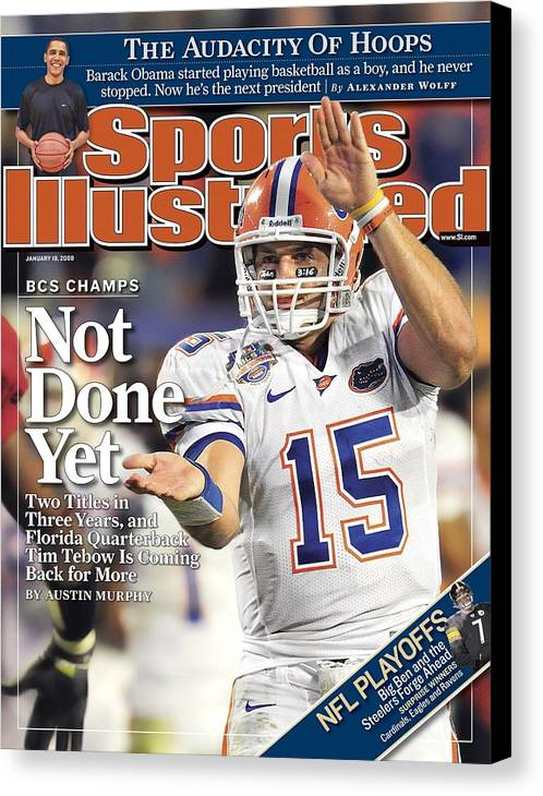 Magazine Cover Canvas Print featuring the photograph University Of Florida Florida Qb Tim Tebow, 2009 Fedex Bcs Sports Illustrated Cover by Sports Illustrated