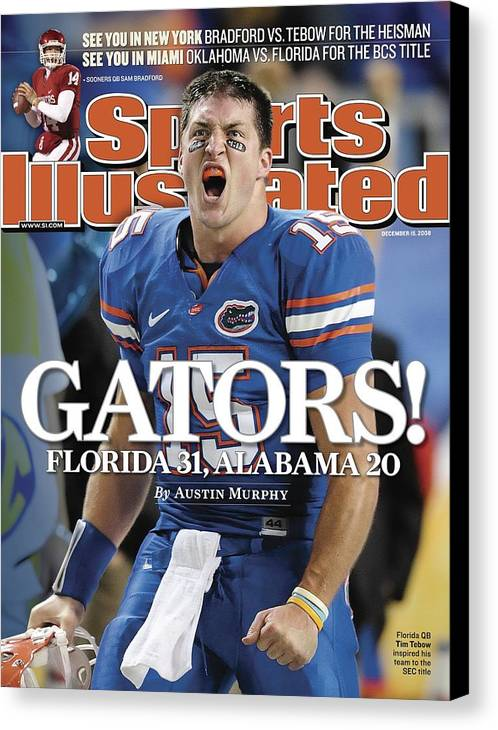 Magazine Cover Canvas Print featuring the photograph University Of Florida Qb Tim Tebow, 2008 Sec Championship Sports Illustrated Cover by Sports Illustrated