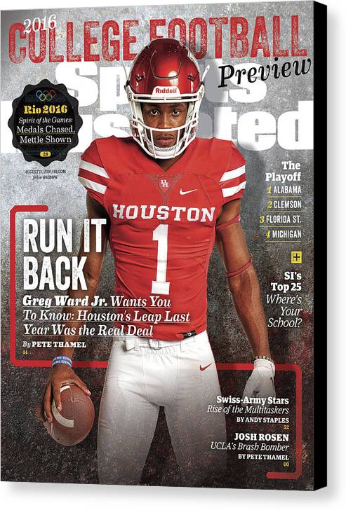 Magazine Cover Canvas Print featuring the photograph University Of Houston Greg Ward Jr., 2016 College Football Sports Illustrated Cover by Sports Illustrated