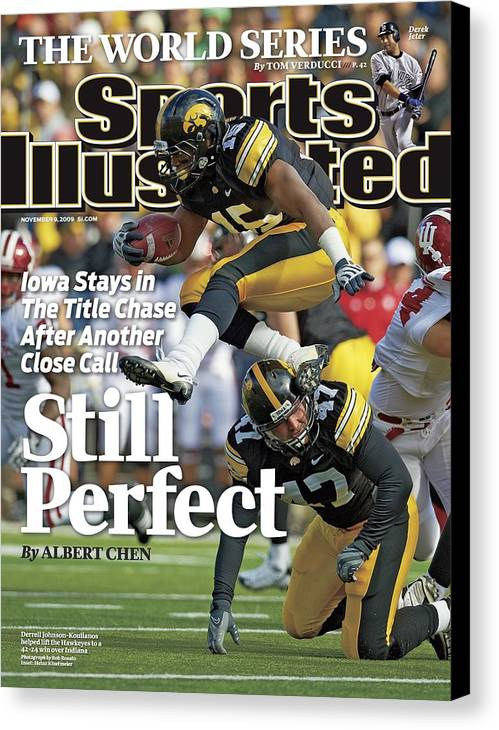Magazine Cover Canvas Print featuring the photograph University Of Iowa Derrell Johnson-koulianos Sports Illustrated Cover by Sports Illustrated