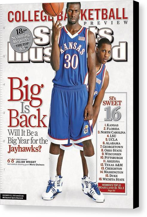 Magazine Cover Canvas Print featuring the photograph University Of Kansas Julian Wright And Mario Chalmers Sports Illustrated Cover by Sports Illustrated