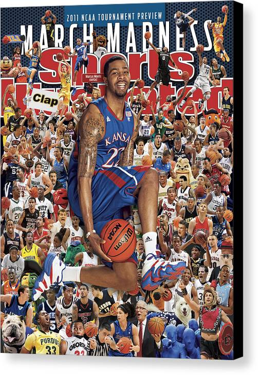 Magazine Cover Canvas Print featuring the photograph University Of Kansas Marcus Morris, 2011 March Madness Sports Illustrated Cover by Sports Illustrated