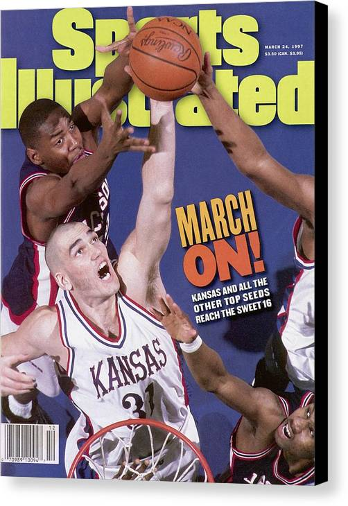 Playoffs Canvas Print featuring the photograph University Of Kansas Scot Pollard, 1997 Ncaa Southeast Sports Illustrated Cover by Sports Illustrated