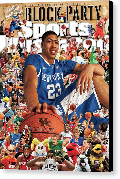 Magazine Cover Canvas Print featuring the photograph University Of Kentucky Anthony Davis, 2012 March Madness Sports Illustrated Cover by Sports Illustrated